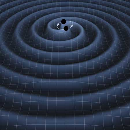 An artist's vision fo the gravitational waves created by an inspiralling binary